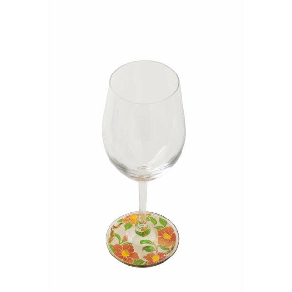 画像1: 【ミュゼグラス】 漆芸蒔絵ワイングラス 雪椿 (1)