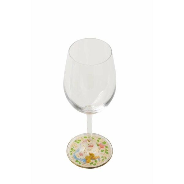 画像1: 【ミュゼグラス】 漆芸蒔絵ワイングラス 端鳥(白) (1)