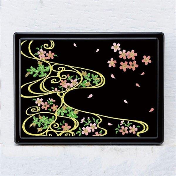 画像1: 蒔絵付箋ケース「雅」 スワロフスキー桜に流水紋(黒) (1)