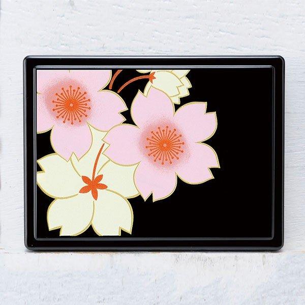 画像1: 蒔絵付箋ケース 桜花(黒) (1)