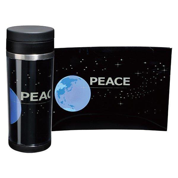 画像1: 蒔絵ステンレスボトル 黒 350ml PEACE (1)