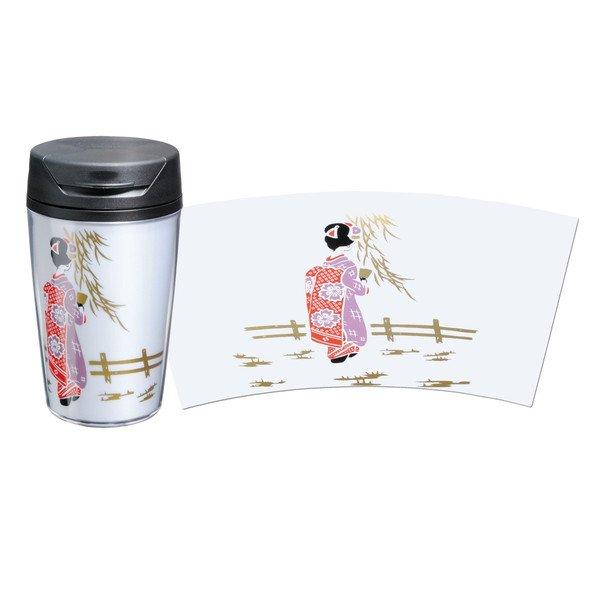 画像1: 蒔絵タンブラー 白 350ml 舞妓 (1)