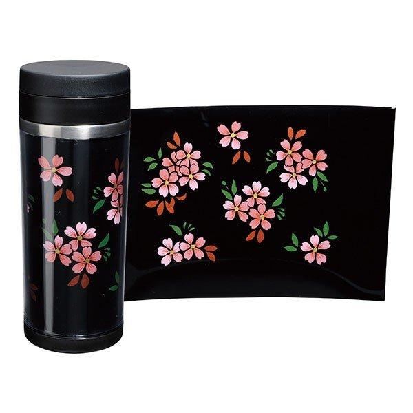 画像1: 蒔絵ステンレスボトル 黒 350ml 桜 (1)