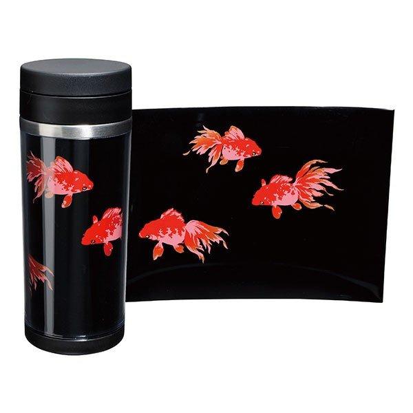 画像1: 蒔絵ステンレスボトル 黒 350ml 金魚 (1)
