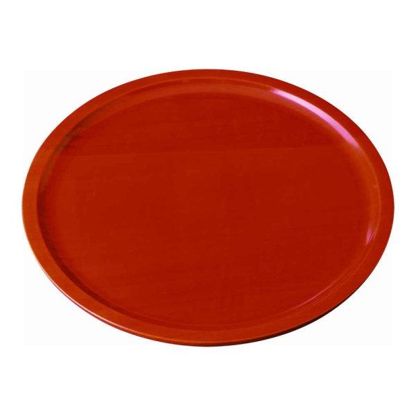 画像1: 8.0 くりぬき丸盆 木製 厚型 春慶塗 (1)