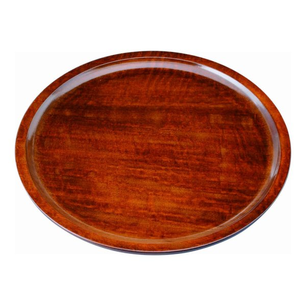 画像1: 9.0 くりぬき丸盆 木製 薄型 茶染 (1)