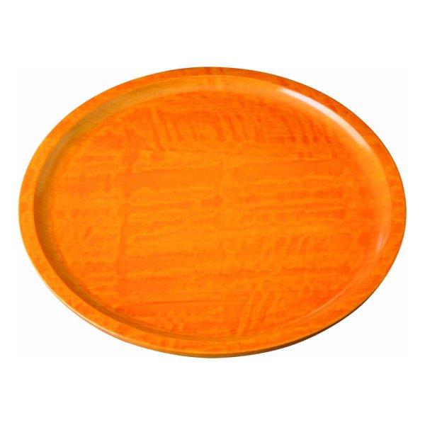 画像1: 8.0 くりぬき丸盆 木製 厚型 やまぶき染 (1)