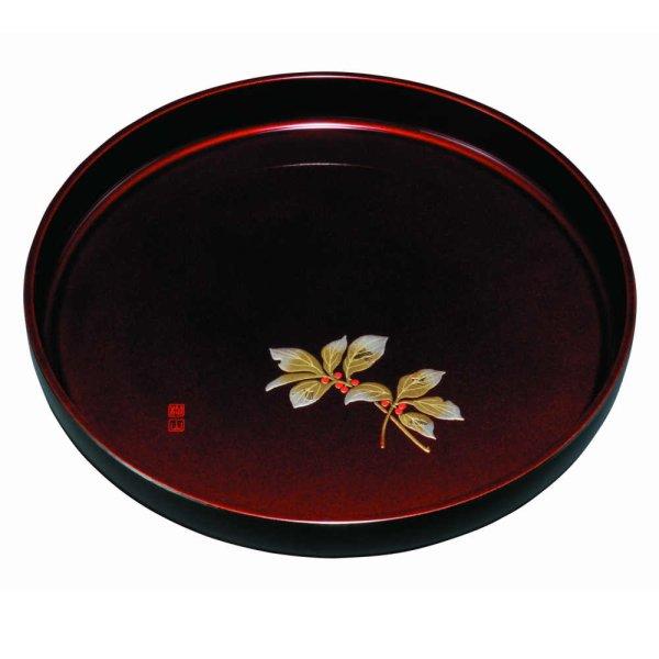 画像1: 丸盆 玉虫塗 盛絵 千両 (1)