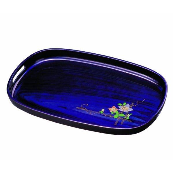 画像1: 16.0 小判盆 紫雲杢 鉄線(金蒔絵・盛絵) (1)