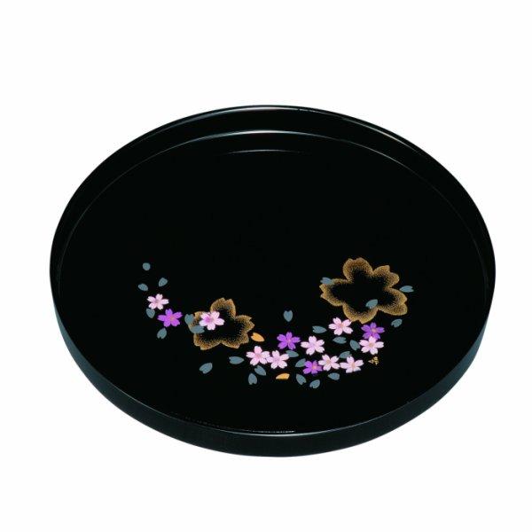 画像1: 8.0 丸盆 黒 さくら (1)