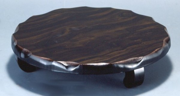 画像1: 木製花台 並丸形足付 黒檀調  (1)