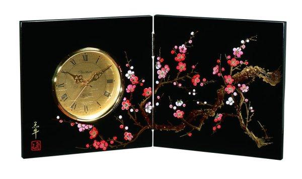 画像1: 屏風時計 木製 香林 (1)