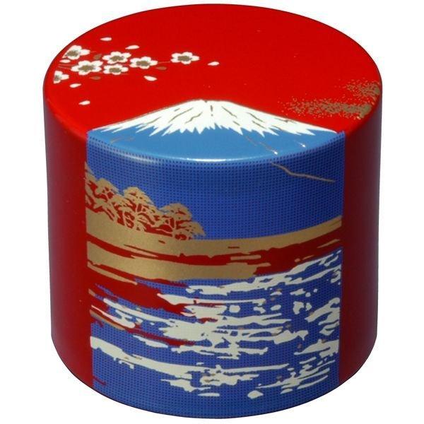 画像1: 漆芸 丸型 文鎮 朱 富士山 (1)
