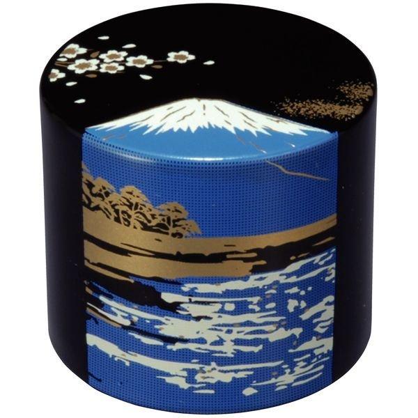 画像1: 漆芸 丸型 文鎮 黒 富士山 (1)