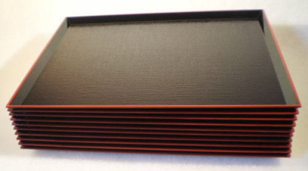 画像1: 定食盆 黒塗り 布目10枚組 滑り止め加工 (1)