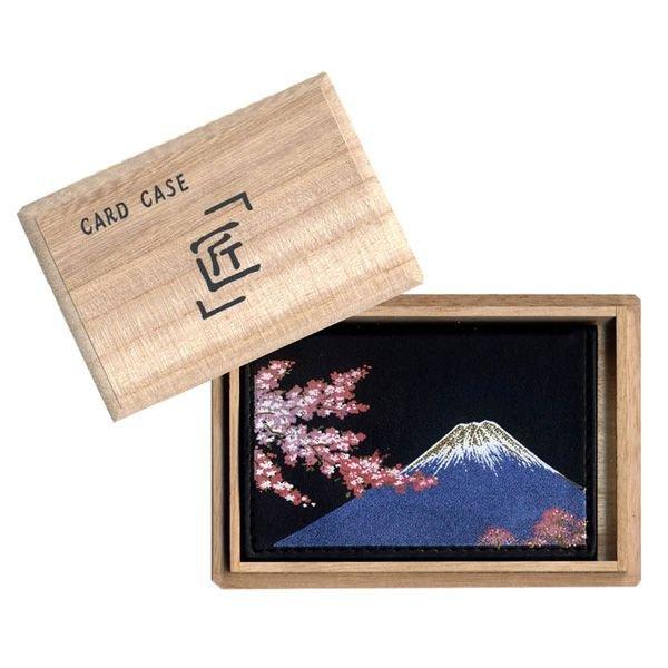 画像1: 蒔絵オムレット型カードケース(名刺入れ) 富士に桜 (1)