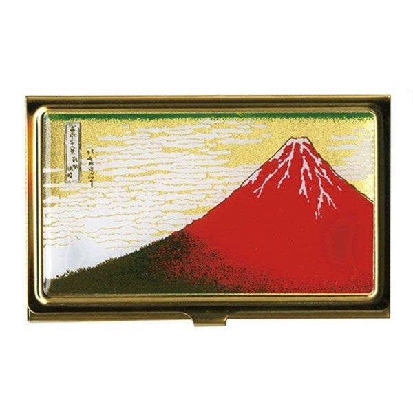 画像1: 蒔絵カードケース(名刺入れ) 赤富士 :ゴールド (1)