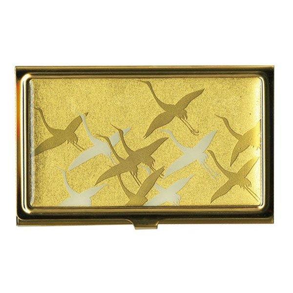 画像1: 蒔絵カードケース(名刺入れ) 千羽鶴 金:ゴールド (1)