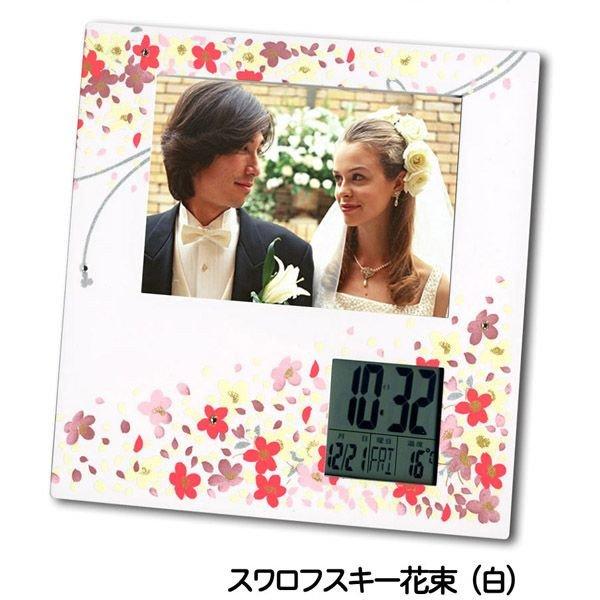 画像1: 蒔絵フォトデジタルクロック スワロフスキー花束(白)  (1)