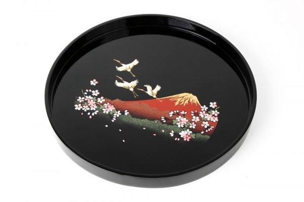 画像1: 丸盆 木製  黒 一富士二鶴三桜 (1)