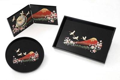 画像2: 長手盆 木製 黒塗り 一富士二鶴三桜