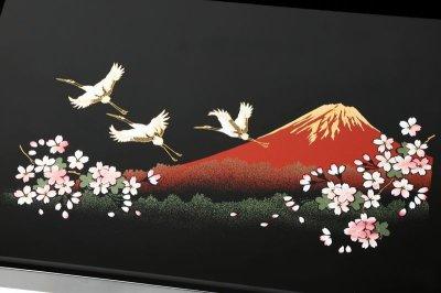 画像1: 長手盆 木製 黒塗り 一富士二鶴三桜