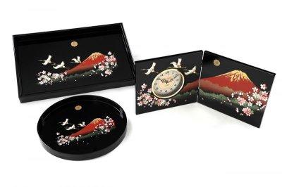 画像2: (菊紋入)屏風時計 木製 一富士二鶴三桜
