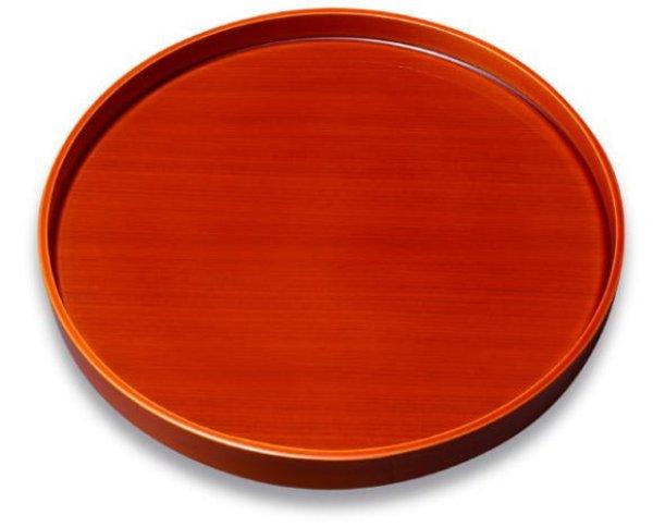 画像1: 丸盆 木製  春慶塗 (1)